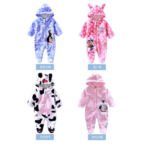 2018 Animal style baby Rompers Jumpsuit winter/spring warm Baby Girl infant Rompers Flannel fleece/cotton Baby Clothes Jumpsuit