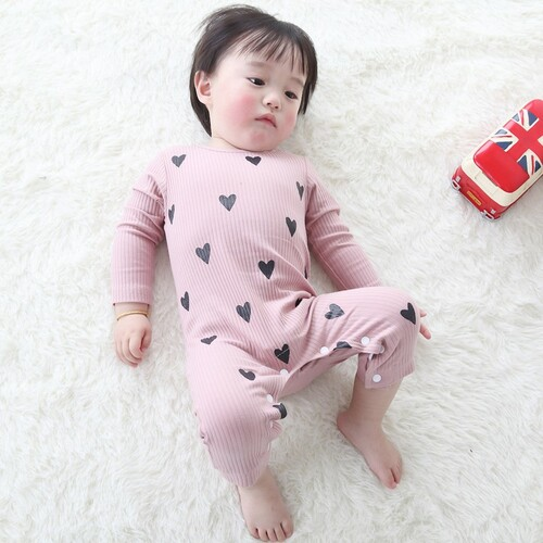 COOTELILI Cute Heart New Born Baby Clothes Spring Autumn Long Sleeve Baby Romper Pink Blue Infant Cotton Jumpsuit 66-90cm