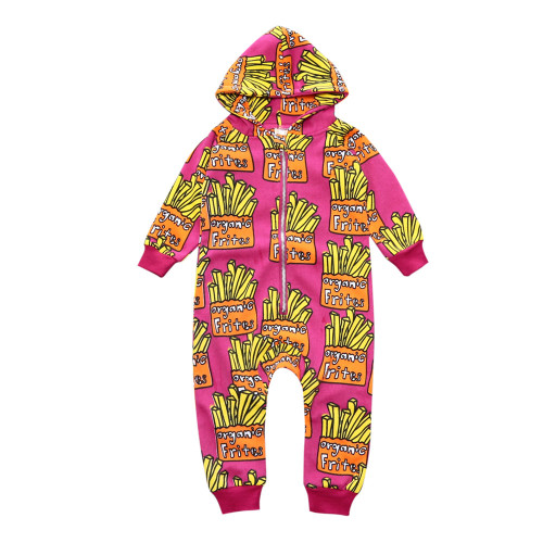 Unisex Hooded Newborn Baby Romper Cute Pattern Print Baby Zippers Boy Clothes Autumn Kids Outwear Colorful Baby Girls Rompers