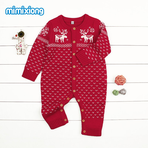 Christmas Reindeer Knitted Newborn Baby Boys Girls Romper Jumpsuit Winter Kids Costume Long Sleeve Pajamas Overalls For Children