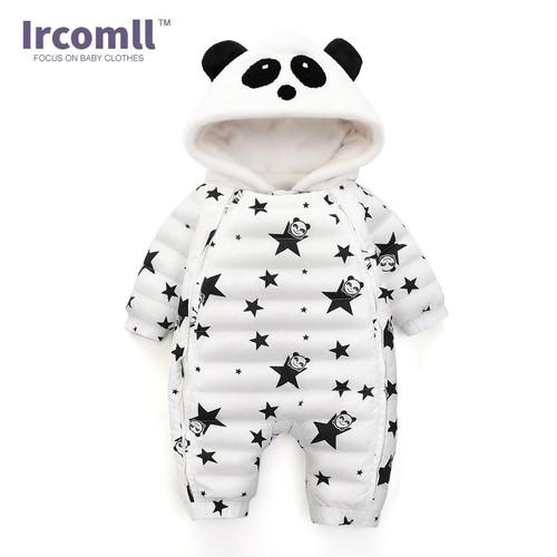 Ircomll New Winter Baby Romper For Panda Hooded Star Pattern Newborn Jumpsuit Snowsuit Infant Overcoat Baby Winter Down Coat