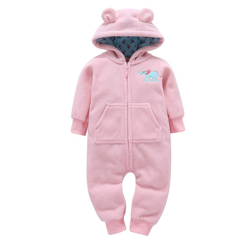 2018 baby boys clothes girls Fleece rompers cartoon Hooded Jumpsuit New Born winter clothing spring jumpsuit baby girl clothing