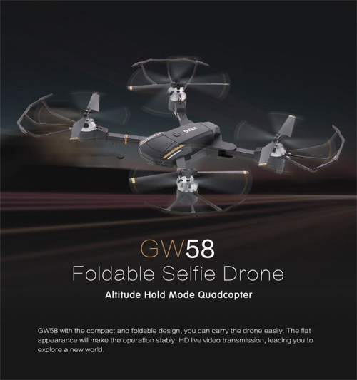 GW58 Selfie Drone With Camera HD 720P/1080P Wide Angle FPV Dron Attitude Hold Quadcopter 2.4Ghz 4CH RC Helicopter VS E58 SG700