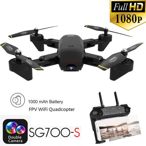 SG700-S RC Quadcopter with Camera fpv 2.4Ghz 4CH Wide-angle WiFi 1080P Optical Flow Dual Camera RC Quadcopter Drone with Camera