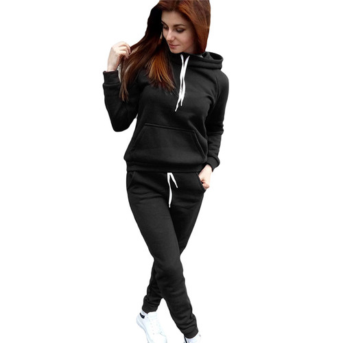 Piece Women Sweat Suits Set 2017 Autumn Winter Cotton Knitted Hoodies Pants Ladies Slim Fitness Tracksuits Two Piece Outfits