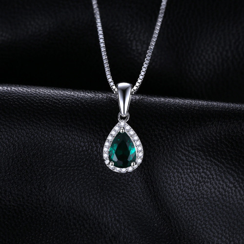 JewelryPalace 0.7ct Water Drop Created Emerald Pendants Genuine 925 Sterling Silver Fashion Fine Jewelry Not Include the Chain