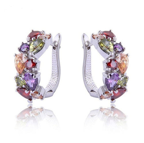 Fashion Earrings Female Crystal from Swarovski New woman gemstone name earrings Twins micro set hot Fashion jewelry