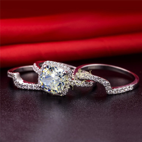 Top Luxury 3 Carat SONA Diamond Engagement Ring Set Best Quality Semi Gemstone Sterling Silver Jewelry For Bridal
