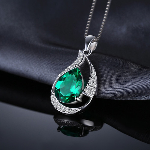 JewelryPalace 2.5ct Created Nano Russian Emerald Pendant Necklace Genuine 925 Sterling Silver Pendant Fine Jewlery 45cm Chain