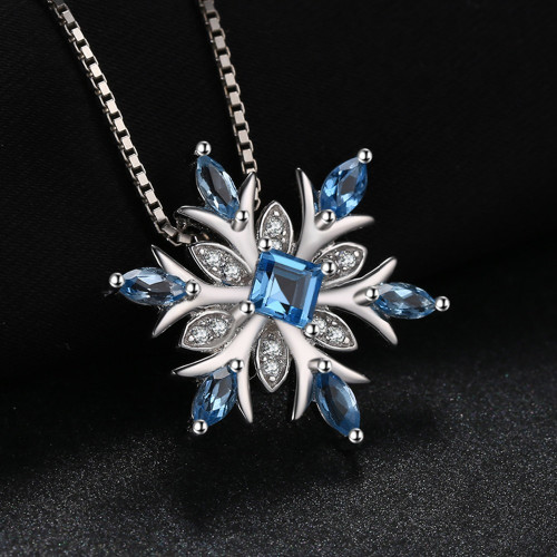 JewelryPalace Big Promotion Snowflake Genuine Blue Topaz Pendant Genuine 925 Sterling Silver Jewelry Women Not Include the Chain