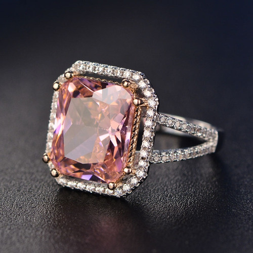 Fashion Pink Spinel Finger Rings For Women Romantic Gemstone Wedding Ring 925 Silver Jewelry With AAAA Zirton Elegant Party Gift