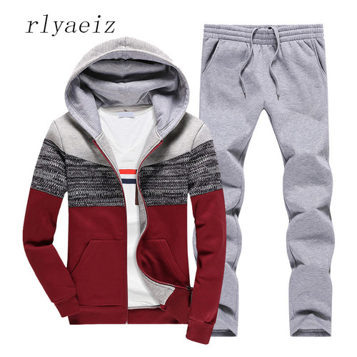 RLYAEIZ Tracksuit Womens 2 Piece Set 2017 Autumn Fashion Patchwork Hooded Hoodies + Pants Female Casual Sporting Suits XS-XXXL