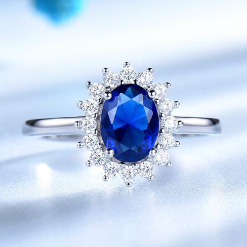 UMCHO Luxury Blue Sapphire 6*8mm Princess Diana Rings Genuine 925 Sterling Silver Engagement Rings For Women Wedding Jewelry