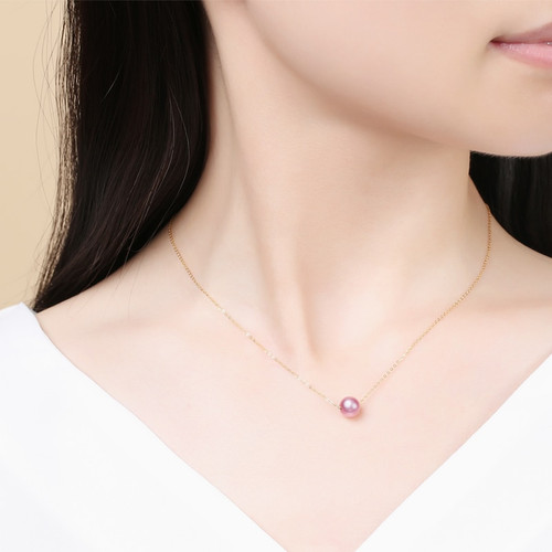 DAIMI 18k Pearl Pendant 7-7.5MM Fresheater Pearl Choker Necklace White/Pink/Purple Pearl & 18k Pure Gold Chain Pendant
