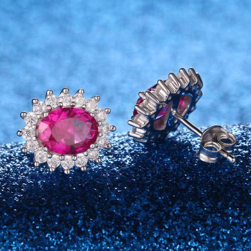 UMCHO Luxury 925 sterling silver earrings Created Ruby Stud Earrings For Women Bridal Wedding Party Jewelry Brand Fine Jewelry