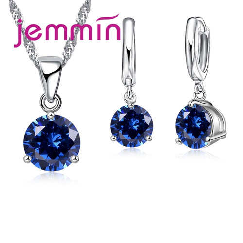Jemmin New Arrival 8 Colour AAA Crystal Jewelry Set 925 Sterling Silver Earring Necklace Set Women Girls Party Three-Claw Gift