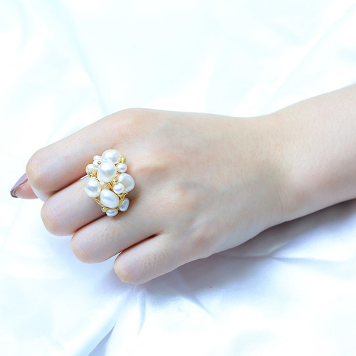 BaroqueOnly [NEST Ring] Multiple Size White Pearls Wired Rings Real Fresh Water Baroque Wedding Pearl Ring