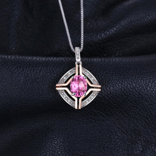 JewelryPalace Classical 1.5ct Natural Pink Topaz Pendants For Woman Pure 925 Sterling Silver Fine Jewelry Not Include A Chain