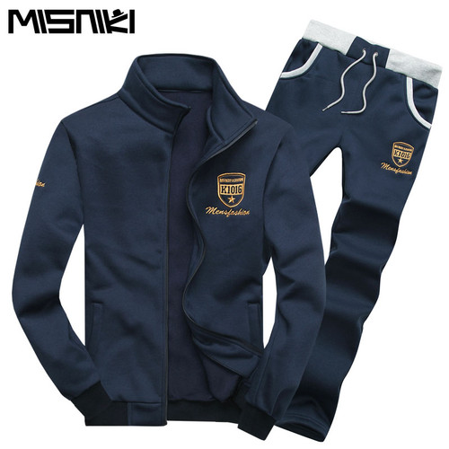 MISNIKI Fashion Spring Autumn Casual Slim Youths Mens Tracksuit Set Solid Leisure Suit Men