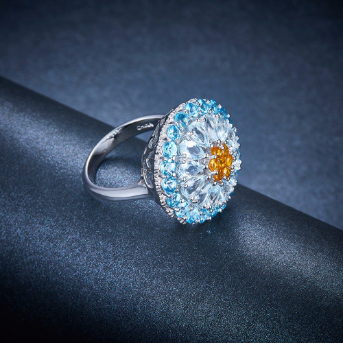 Hutang Natural Aquamarine Wedding Rings Gemstone Blue Topaz Solid 925 Sterling Silver Cluster Ring Stone Jewelry For Women Girls