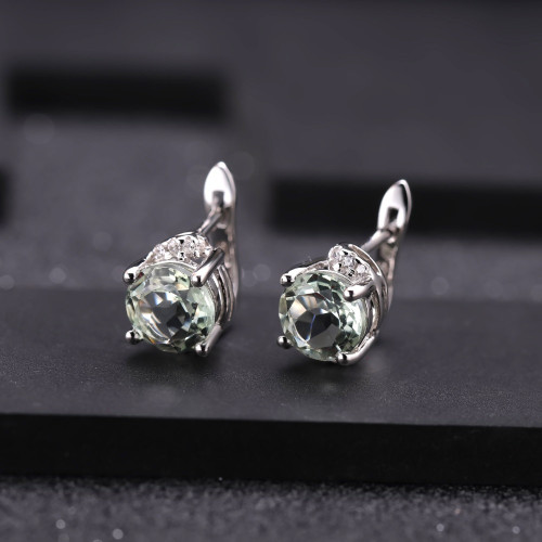 Gem's Ballet 4.08t Natural Green Amethyst Gemstone Earrings 925 Sterling Silver Stud Earrings For Women Valentine Gift Jewelry