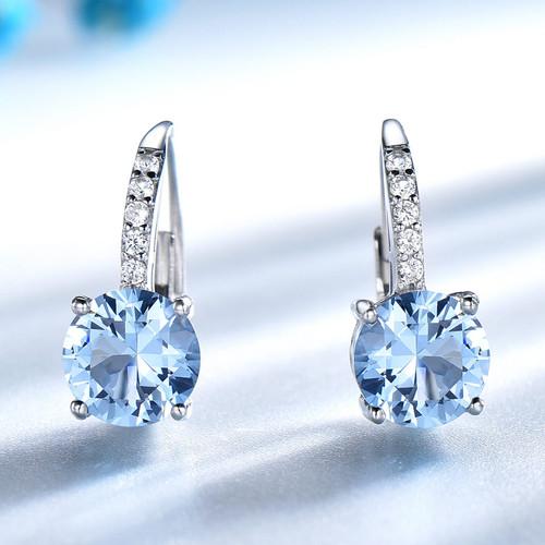 UMCHO Real 925 Sterling Silver Clip Earrings For Women Gemstone Sky Blue Topaz Female Earrings Round Wedding Gift Fine Jewelry