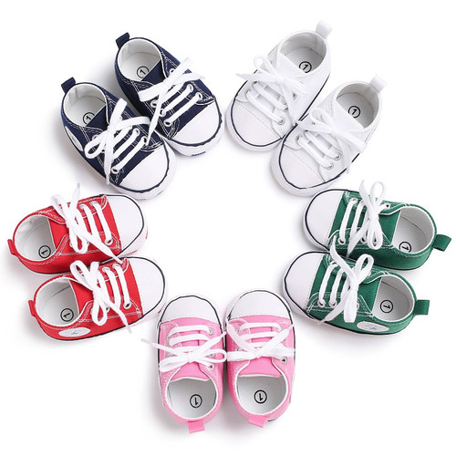 HOT Canvas Baby Sneaker Sport Shoes For Girls Boys Newborn Shoes Baby Walker Infant Toddler Soft Bottom Anti-slip First Walkers