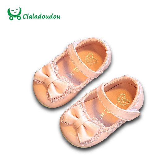 Sale 2015 Spring/Autumn Baby Girl Shoes Cute Lace Bowknot Princess First Walkers Infant  PU Leather Shoes For Party Size 4-9.5