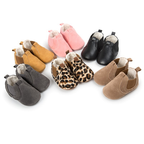 Autumn Winter Baby Girls Boys Fashion Shallow Moccasins Baby Anti Slip Elastic Soft Rubber Sole Shoes
