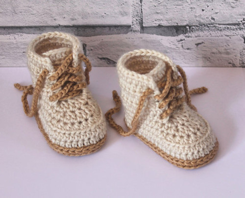 """Crochet baby booties, Baby Boys Booty """"Combat"""" Boots, Beige Crochet Baby Booties, street shoes, Size 0-12 months"""