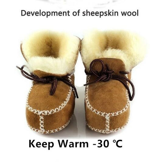 Hongteya winter Genuine Leather baby shoes boots infants warm shoes fur wool girls baby booties Sheepskin boy baby