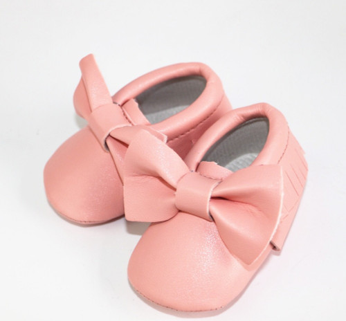 Hongteya New bows Baby moccasins soft sole pu leather prewalker booties toddlers infants fringe bow baby shoes first walkers