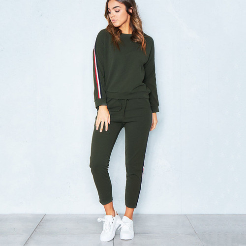 2017 Autumn Winter Knit Sportswear Women Long Sleeve Side Stripe Tracksuit Female Casual Conjuntos Ankle-Length Pants Womens Set