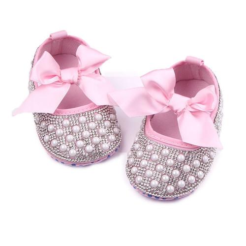 TongYouYuan Baby Shoes Girls Princess Mary Jane Crystal Pearl DIY Infant Toddler Bebe Soft Soled Anti-Slip Bow Shoe Footwear