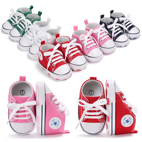 2019 Spring Autumn Canvas Toddler Baby Shoes Girls Boys First Walkers Bebe Baby Sneakers Lace Newborn Baby Moccasins Crib Shoes