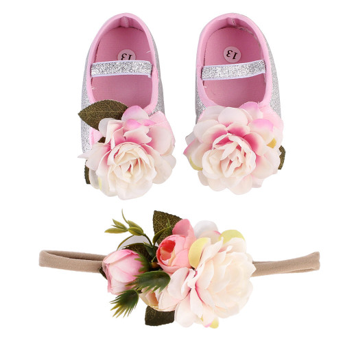 Flower Spring First Walk Baby Girl Shoes Moccasins Soft  Infant Fabric Baby Booties Headband Set Gold And Pink DIY Shoes-09
