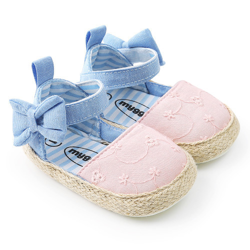 2018 Baby Princess Girls Shoes First Walkers Cowboy blue bow Bebe Ballet Dress Walking Shoe Soft Soled Baby Shoes