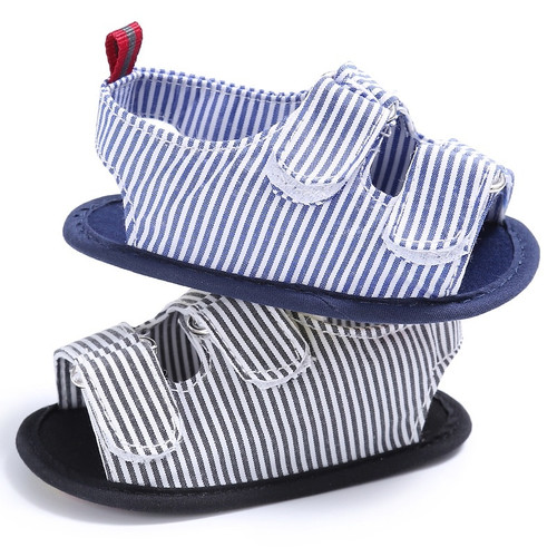 Holiday Beach Toddler Baby Boys Fashion Cute Breathable Anti Slip Crib Stripe Shoes Kids Shoes Prewalkers Sandals