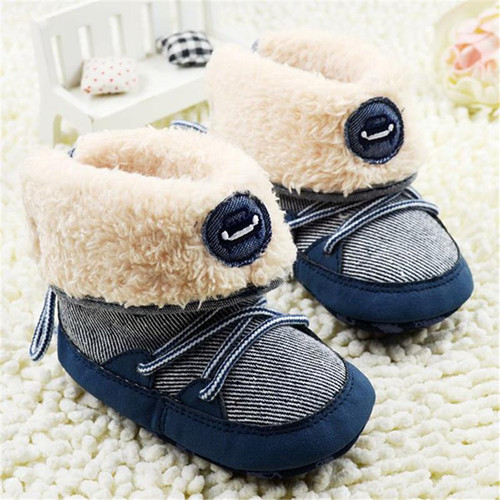 Baby Boy Winter Warm Snow Boots Lace Up Soft Sole Kids Infant Toddler Newborn Shoes 0-18M