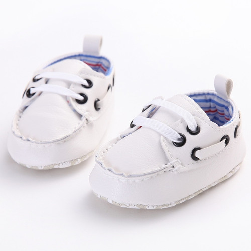 Newborn Baby Boys Shoes Crib Bebe Footwear Prewalkers Pure White Classic Kids PU Leather Soft Soled Anti-slip Loafers Shoe