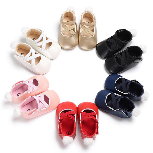 0-18M Toddler Baby Girl Pu First Walkers Princess Shoes cute pom shoes Infant Prewalker New Born Baby Shoes for girls D15