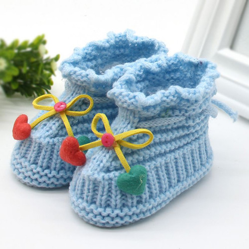 Winter Soft Woolen Baby Shoes Infants Crochet Knit Fleece Warm Boots Toddler Girl Boy Wool Snow Crib Shoes Booties