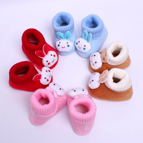 Cartoon Rabbit Baby Girl Shoes Soft Fleece Baby Moccasins Anti Slip Newborn Winter Slipper Socks