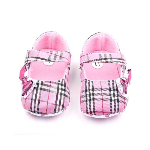Butterfly Knot Gingham Baby Shoes Girls Crib Shoes For Newborn 0-12M Toddler Moccasins Baby First Walkers F14
