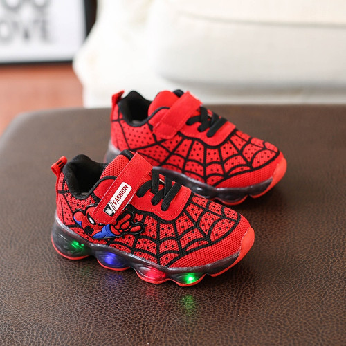 Spider Cartoon baby first walkers LED lighted boys girls shoes Cute Cool infant tennis casual Cute baby sneakers footwear