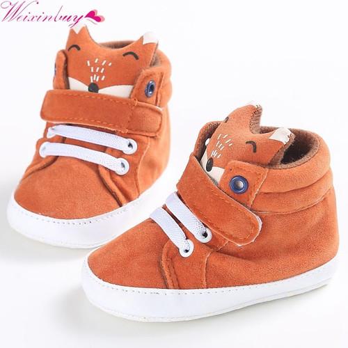 Winter Infantil Baby Shoes Boy Girl Cotton Fox head First Walker Canvas Sneaker Anti-slip Soft Sole Toddler footwear