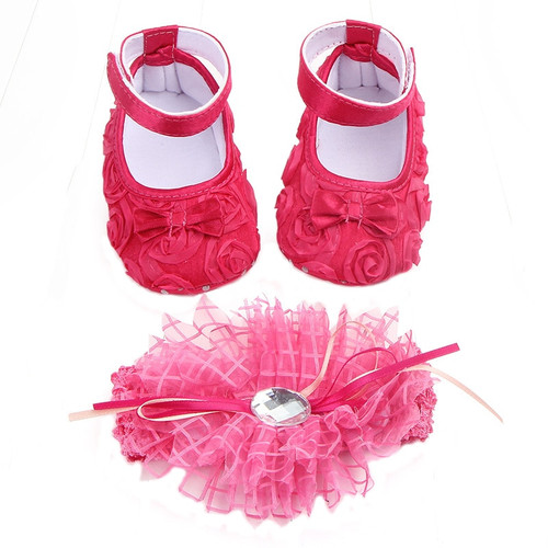Baby Shoes Photo First Walkers Infant Footwear For Newborns Headdress Set Head Flower Bows Toddler Soft Soled Crib Shoes