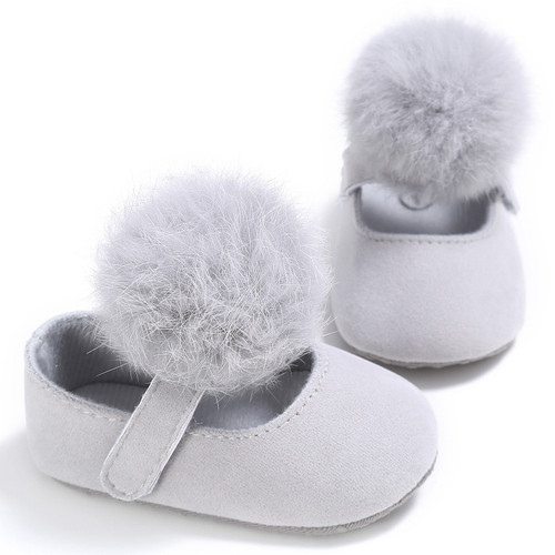 Infant Baby Girl Shoes Toddler Pre-walkers Princess Hair Ball Crib Shoes Cute Toddler Shoes For Babies 0-18M