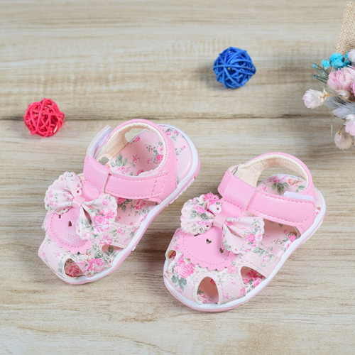 2018 Baby Sandals Newborn Baby Girl Sandals Summer Flower Baby Shoes Anti-Slip Closed Toe Leather Fashion Kids Sandals For Girls