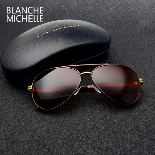 2019 High quality New Pilot sunglasses men Polarized luxury brand vintage Mens Sun glasses Driving UV400 Sunglass With Box